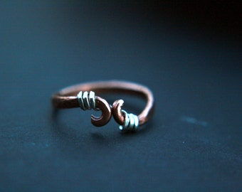 Rings size 5 Mixed metal ring, Waves, copper, silver, elegant, Artist Direct, Lemurian Diamond, Bibi,ooak,indiemade, hammered copper ring