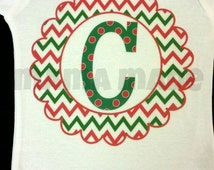 Chevron Monogram Shirt or Bodysuit Red and Green Monogram Christmas Shirt Red and Green Chevron Frame Shirt with Initial Christmas Shirt