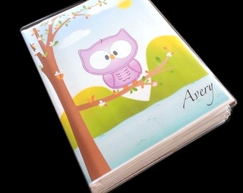 Journal diary, owl journal, kids journal notebook scrapbook baby quote journal writing sketchbook personalized and customized