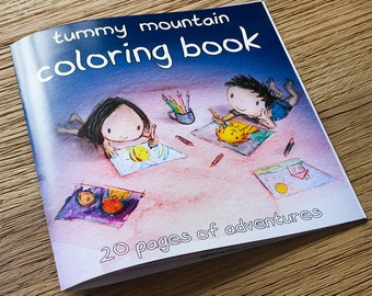 tummy mountain coloring book colouring book kids gift cute childrens gifts girls boys gender neutral christmas gift ideas kids coloring book
