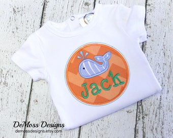 Whale Frame Name, Shirt or Hand Towel, Appliqued, Short or Long Sleeve Shirt,  Totally Custom