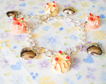 Cake Bracelet, Kawaii Bracelet, Charm Bracelet, Food Bracelet, Kawaii Kei, Lolita, Dessert Bracelet, Heart Bracelet, Girls, Teen, Women