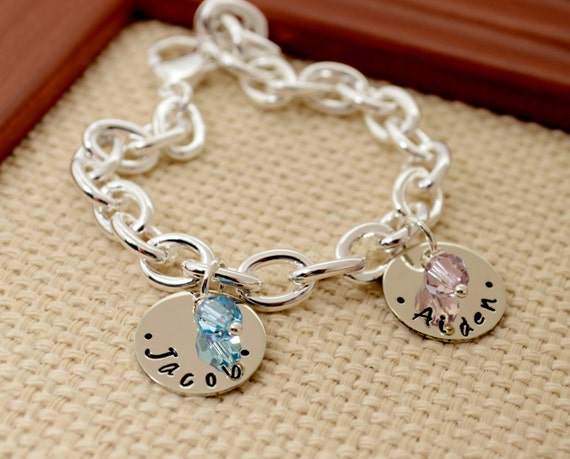 Personalized Charm Bracelet, Grandma Bracelet, Birthstone Bracelet, Grandmother Bracelet, Name Bracelet, Mother Bracelet, Link Bracelet