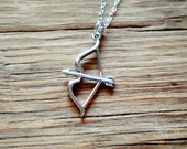 Sterling Silver Bow and Arrow Charm Necklace