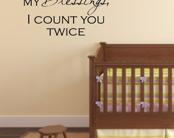 Vinyl wall decal When I count my blessings I count you twice  wall  quote decor   D17