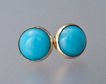 Turquoise Gold Stud Earrings - 8mm solid 14k gold bezel settings, posts and backs