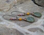 Rustic Bohemian Earrings - New Olive Jade Teardrop Dangle Earrings - Beaded Kidney Wire Earrings - Autumn