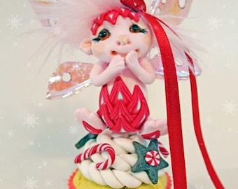 SALE! Christmas cupcake fairy fae faerie fantasy miniature sculpture ooak art doll troll gnome