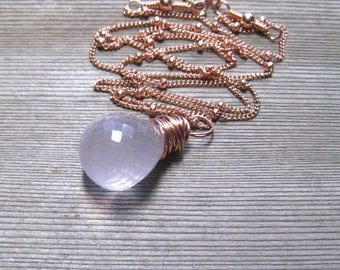 Rose Quartz Necklace,  AAA Rose Quartz Briolette,  Hand Wire Wrapped In 14K Rose Gold Fill, Pink Stone Pendant, Pink Gold Necklace