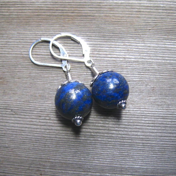 Round Lapis Earrings,  Blue Lapis Lazuli Drop Earrings,  Natural Stone,  Sterling Silver, Lapis Lazuili Jewelry