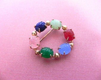 Vintage Brooch Carved Scarab Beetle, Friendship Circle Pin with Gemstones - on sale