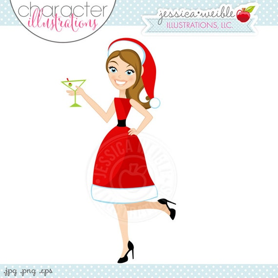 Ms Cocktail Claus Character Illustration - Brunette, Cartoon Illustration, Woman in Santa Dress, Christmas Character, Party Cocktails