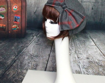 Beret Hat Bow Grey Wool with Plaid