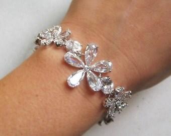 Cubic Zirconia Bracelet, Silver Crystal Bridal Cuff, Crystal Wedding Bracelet - KENDAL