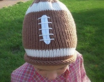 Football Team Sport Hat, Knit Newborn Baby, Infant, Toddler, Children, Adult Sizes, Photo Prop, Custom Team Colors Avail