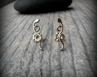 Sterling silver snake earrings, Serpent earrings, Post earrings