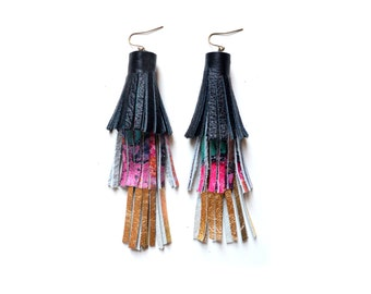 Gold Tassel Earrings, Black Pink Pattern Earrings, Leather Earrings, Long Fringe Layer Earrings, Statement Earrings, Leather Tassel Jewelry