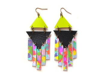 Rainbow Geometric Earrings, Hand Painted Leather Rectangle Dangle Earrings, Triangle Geometric Jewelry, Neon Tribal Leather Jewelry