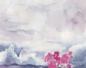 Abstract Landscape Watercolor Painting - 8 x 10 - Purple Pink Wall Art - 8.5 x 11