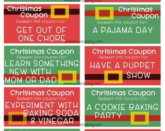 Kid's Christmas Coupons Stocking Stuffer - Give the gift of time with some fun activities!