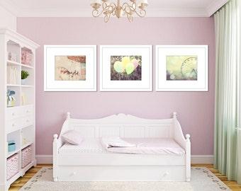 Carnival nursery art girl, set of 3 prints, toddler girl room, carnival art, pink and green art, little girl room decor, nursery ideas,