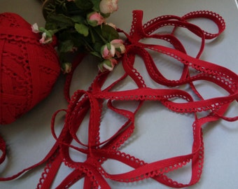 "5 Yards of 3/8"" Wide Deep Red Lingerie Headband Elastic with Decorative Scalloped Picot Edge Stretch Lace ST 102914"