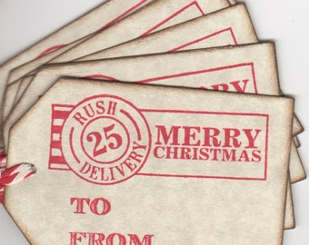 Christmas Tags, Holiday Gift Tags, Merry Christmas Rush Delivery For December 25th - Vintage Style