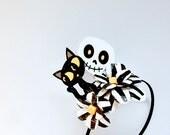 Cats & Skulls Paper Mache Daisy Headband