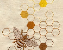 Sweet as Honey, Bee Embroidered Cotton Kitchen Towel