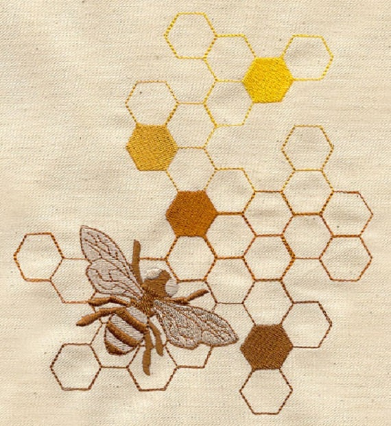 Items similar to sweet as honey bee embroidered cotton