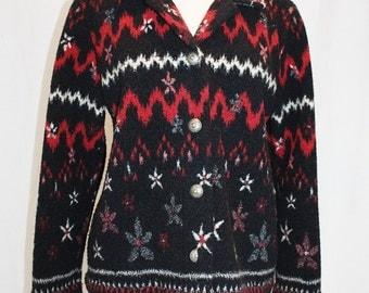 1990's Fleece Jacket Black REd White Medium Canada vintage REtro 90s Sothwestern Nordic Floral Pacific Northwest Outdoorsy Lodge
