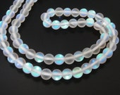 """Rainbow Moonstone Beads - Synthetic - Round Small White - Ab Clear Flashy -  Matte Glass - 6mm - 7.5"""" Strand -  Diy Jewelry Making"""