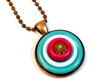 Cute as a Button Pendant, Necklace, Upcycled Jewelry, Turquoise and Red, Repurposed  Buttons