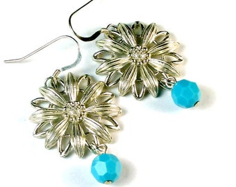 Vintage Inspired Silver Flower Earrings,  Sterling Silver Dangle Earrings, Turquoise, Handcrafted Jewelry