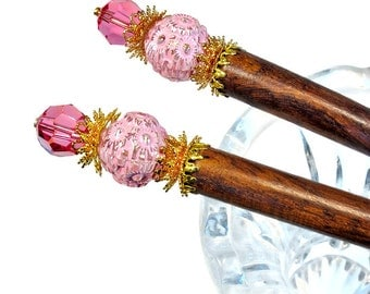 Pink Hair Sticks, Pink Hair Accessories, Bun Sticks, Hairsticks, PAIR