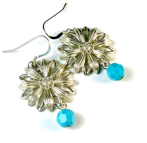 Vintage Inspired Silver Flower Earrings,  Sterling Silver, Turquoise, Handcrafted Jewelry
