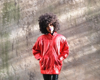 SALE 90s Red Leather Coat Small