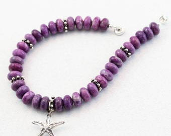 Stacked Gemstone Bracelet, Purple, Gemstone Bracelet, Starfish Charm, Magnetic Clasp, 8 inch, Sterling Silver