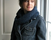 Infinity Scarf Unisex # 15, hand knitted blue jeans ...