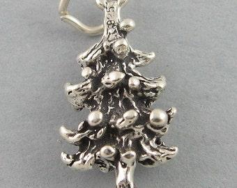 Sterling Silver Charm Pendant 3D PINE TREE Evergreen Christmas sc559