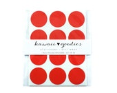 36 round Red stickers  - 1 inch circle red labels - FREE SHIPPING