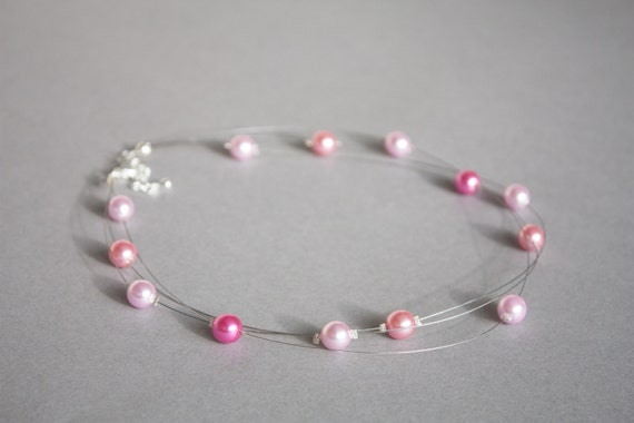 Pink glass pearl floating multi-strand illusion necklace