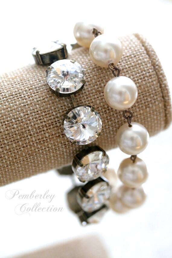 Pearl and Crystal Bracelet, Rivoli Bracelet, Crystal Bracelet, Bridesmaid Bracelet, Swarovski Crystal Bracelet, Estate Style Bracelet