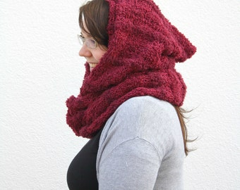 Hooded Scarf Cowl, Red Infinity Scarf with Hood, Oxblood Scoodie Snood, Dark Red Hand Knitted Hood Cowl, Winter Fall Fashion, Gift for her