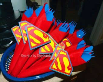 Superman Napkin Rings with Silverware and Napkins - Set of 12+
