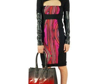 Women's Shivani Black and Abstract Print colorblock Dress with Liquid Leather sleeves