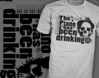 Tom Waits Shirt - Indie Booze Lounge Lizard - Jazz Piano Skull - Blues Rock T-Shirt