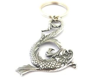 Koi Fish Keychain- Sterling Silver Ox Finish- Japanese Fish
