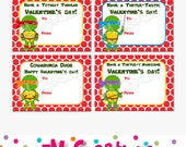 Printable Turtles Valentines Day Card - School Valentines Card - Valentines Printables - Boy Valentine Card - Boy Valentine - Digital File