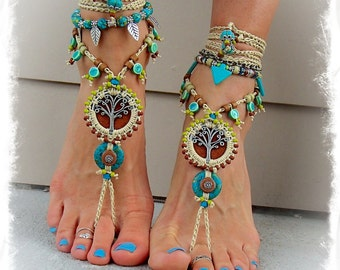 For Elisabet. Beaded Yggdrasil TREE of life BAREFOOT SANDALS Turquoise Luxurious Leather foot jewelry crochet sandal Garden Wedding GPyoga